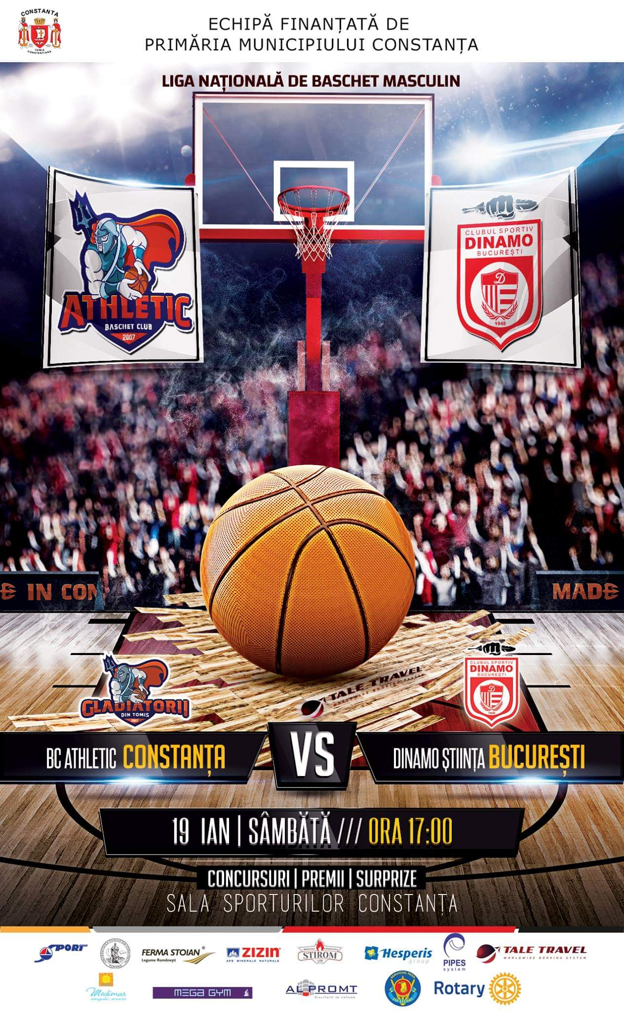 afis BC Athletic Constanta vs Dinamo Stiinta Bucuresti 19.01.2019