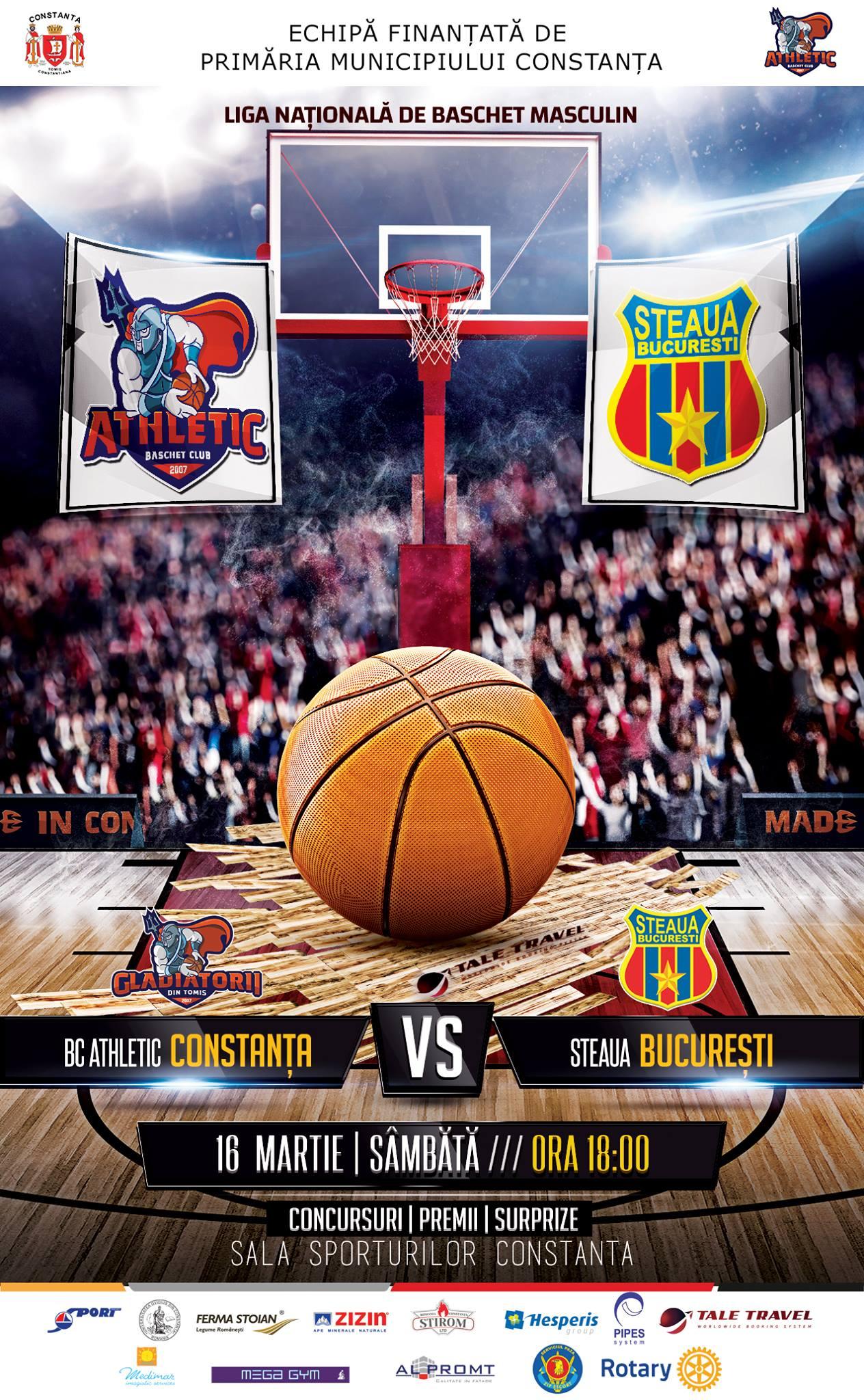 afis BC Athletic vs. Steaua Bucuresti 16.03.2019
