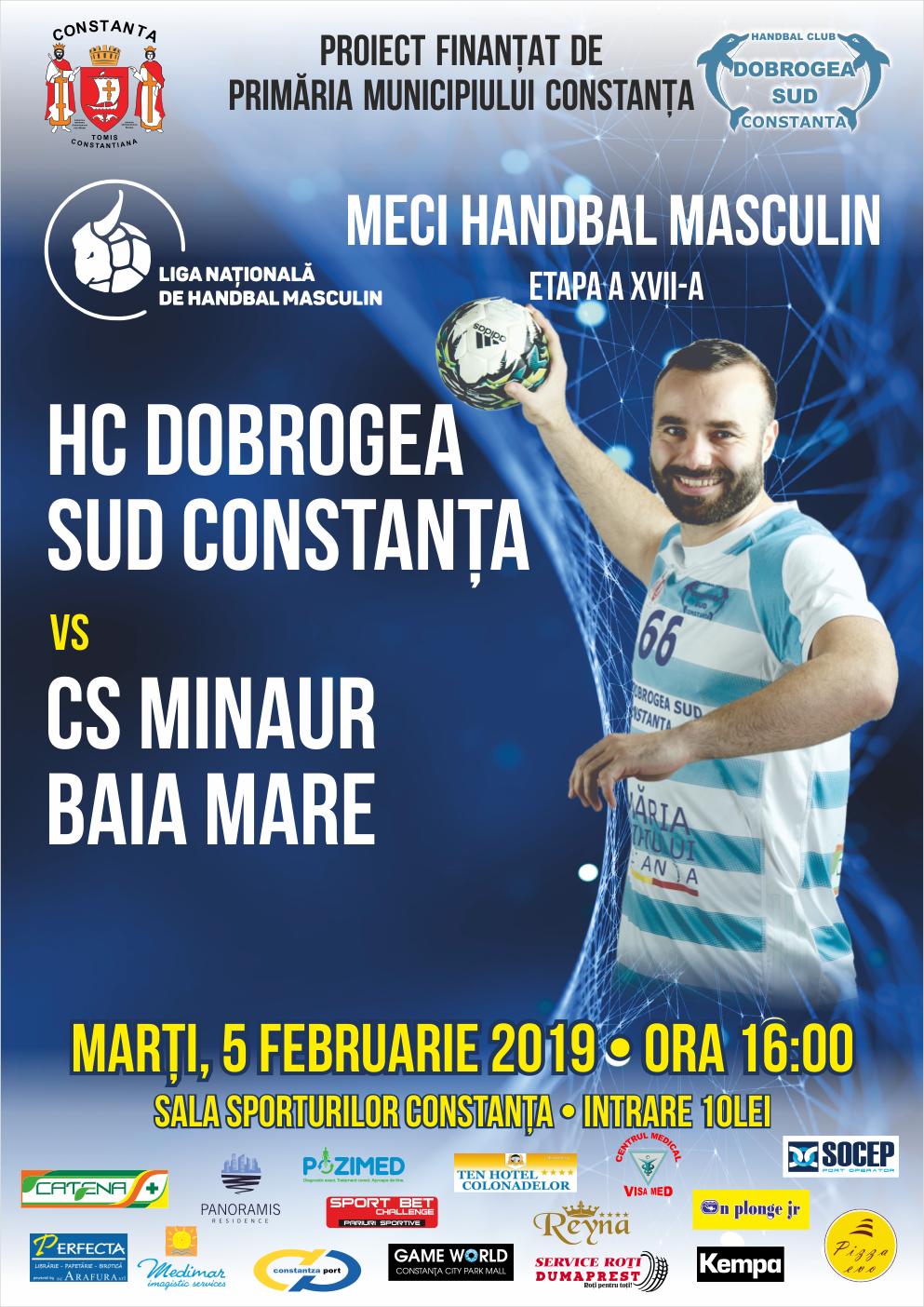 afis HC Dobrogea Sud Constanta vs. CS Minaur Baia Mare 05.02.2019