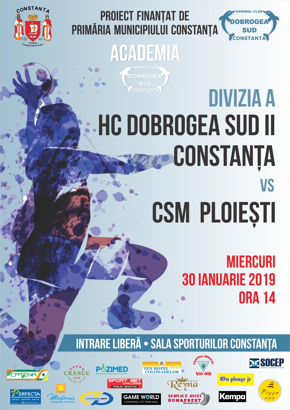afis HC Dobrogea Sud Constanta vs CSM Ploiesti 30.01.2019