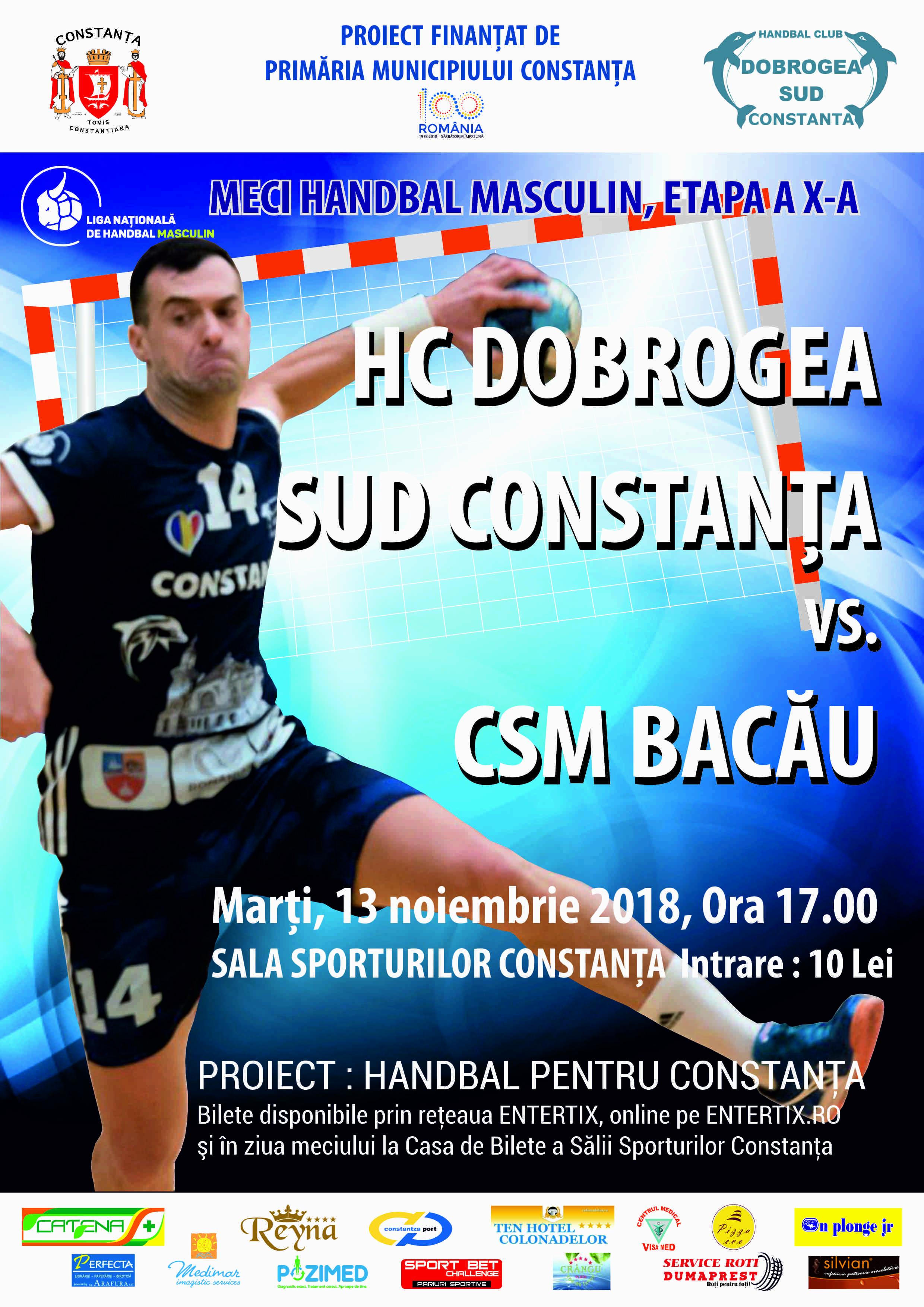 afis HC Dobrogea Sud vs. CSM Bacau 13.11.2018