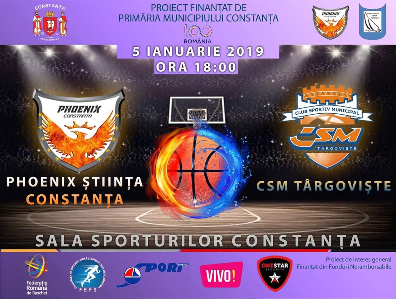 afis Phoenix Stiinta Constanta vs CSM Targoviste 05.01.2019